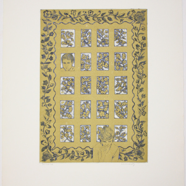 """Etching, """"Sonnet 24"""", 1972. Rita Briansky. Jewish Public Library Archives, 1291_00344."""