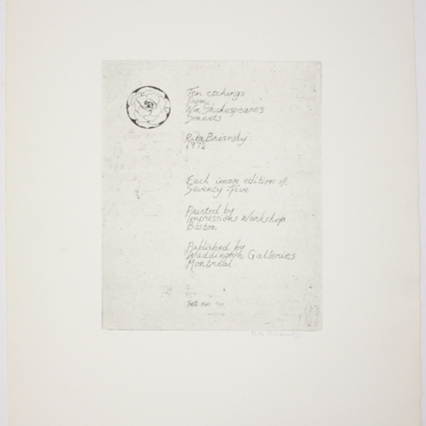 "Etching, ""Ten etching from Wm. Shakespeare's Sonnets"", 1972. Rita Briansky. Jewish Public Library Archives, 1291_00338."