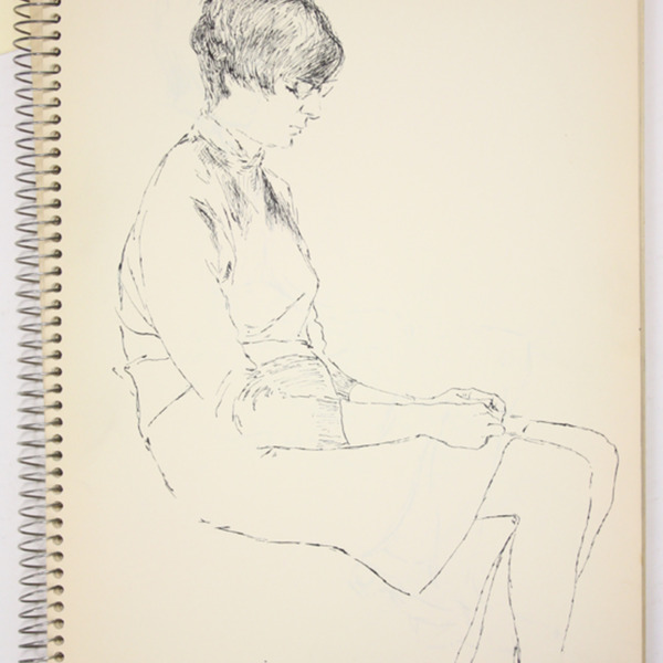 "Sketchbook, ""Wendy, studies for etchings and paintings"", 1969. Rita Briansky. Jewish Public Library Archives, 1291_00062_7."
