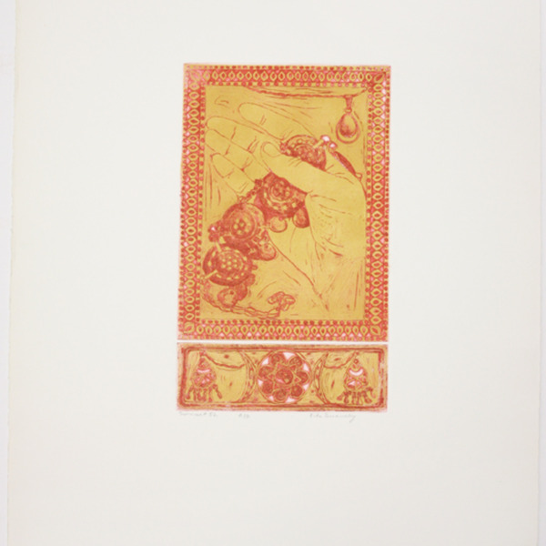 """Etching, """"Sonnet 52"""", 1972. Rita Briansky. Jewish Public Library Archives, 1291_00348."""